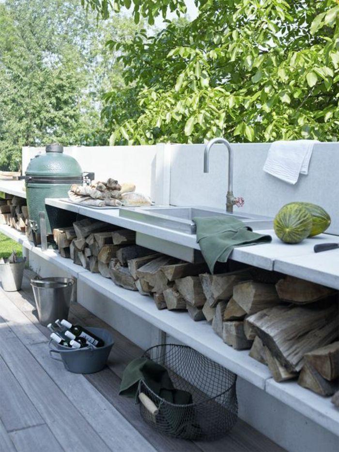 cuisine d'extérieur en béton au design scandinave épuré