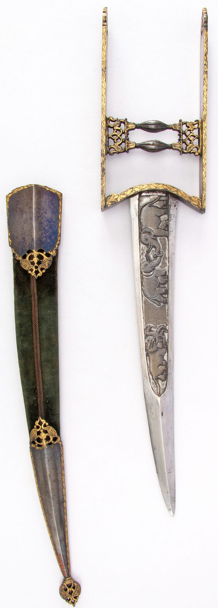 Indian katar, 18th century, curved blade, H. with sheath 21 1/4 in. (54 cm); H. without sheath 17 7/8 in. (45.4 cm); W. 3 5/8 in. (9.2 cm); Wt. 17.4 oz. (493.3 g); Wt. of sheath 5.1 oz. (144.6 g), Met Museum, Bequest of George C. Stone, 1935.