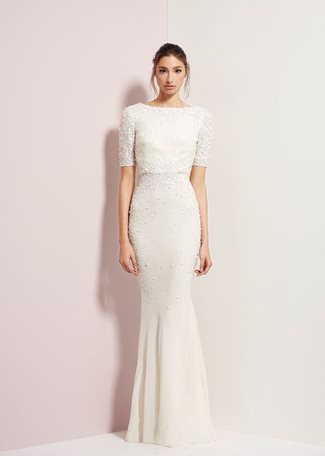 "Rachel Gilbert Autumn Winter 14 ""Serenity"" Collection stunning wedding dress 3/4 length sleeves!"