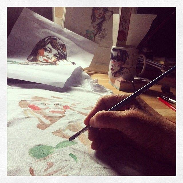 working on new Ang Varani TS!!! #illustrator #instaart #Tshirt #TS #fashion #instafashion #dress #drawing #work #angvarani #angelavarani #pa...