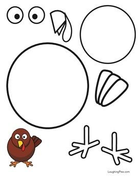 A cartoon turkey for your kids to color and cutout