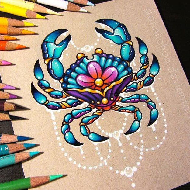 Cancer the Crab by @dannii_chan! What is your zodiac sign? _ Check out @arts_promo for more!