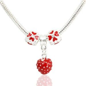European Charms Necklace Red Strawberry
