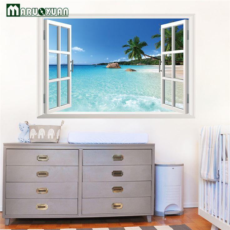 ضخم 90*60 سنتيمتر للإزالة نافذة عرض مشهد شاطئ البحر 3d الجدار ملصق ديكور الشارات ل غرفة المعيشة و نوم