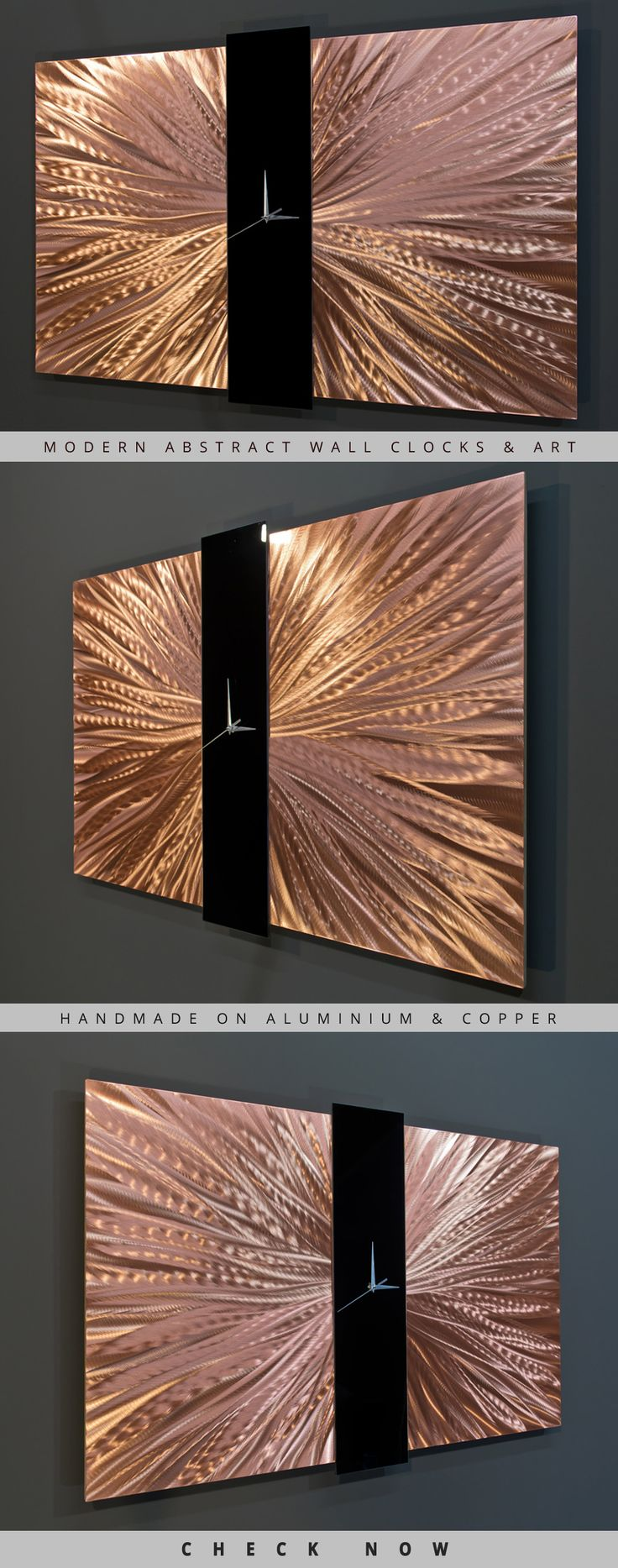 Beautiful contemporary modern metal wall clock & art piece made by hand on copper
