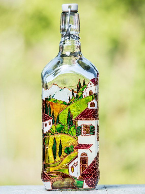 Painted Wine Bottle Vase