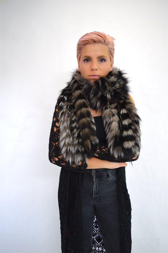 Real fur scarf black fox fur scarf silver fox fur scarf by BeFur