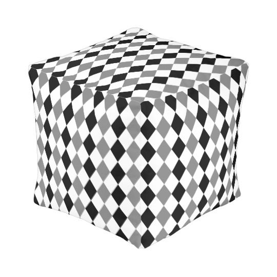 30% off with code ZAZZLESPROUT #Geometric pattern, gray and black rhombus theme #pouf #sale #homedecor #