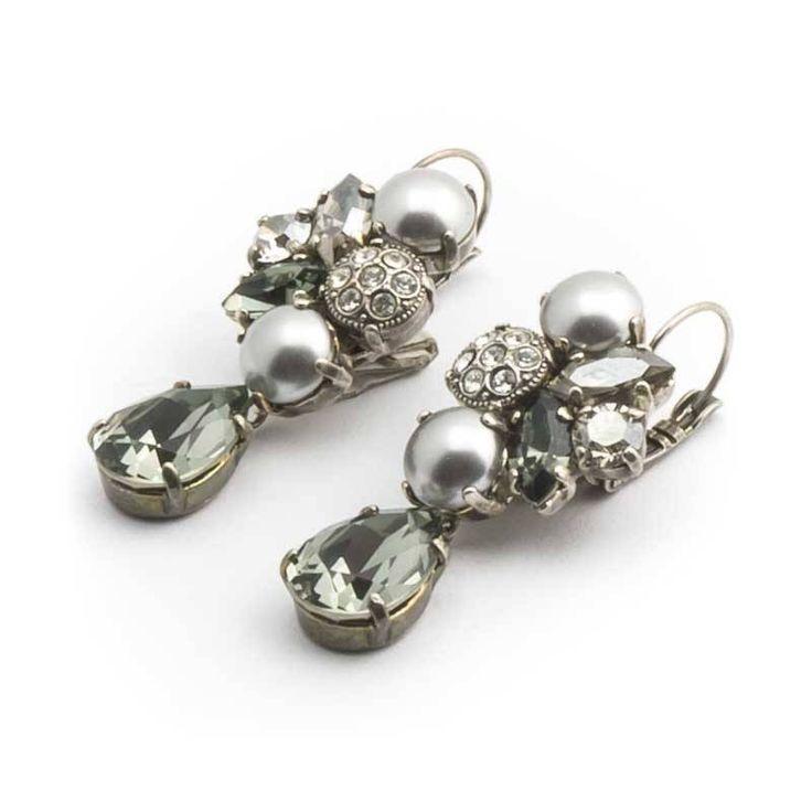 Moliere Paris Grijze oorbellen met Swarovski kristallen en parels