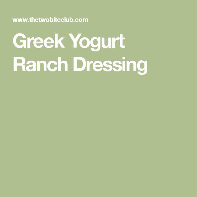 Greek Yogurt Ranch Dressing