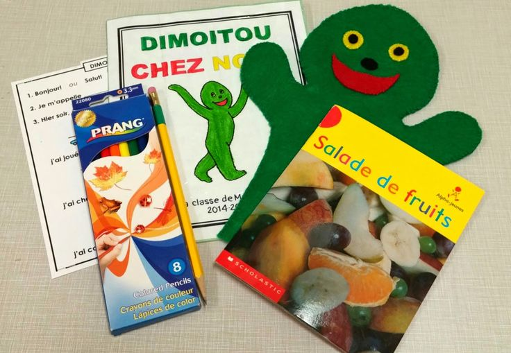 Grade 1 take-home French activity with #Dimoitou hand puppet. #FSLchat