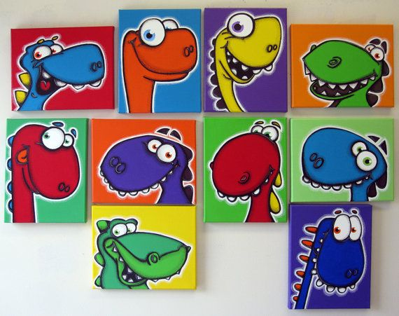 a WaLL fULL oF DiNoS - set of 10 8x10 original paintings on multiple canvases for kids room or nursery, dinosaur art, dinosaur paintings
