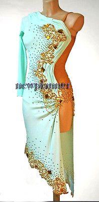 Women Ballroom Smooth Latin Rhythm Salsa Cha Dance Dress US 4 UK 6 White Gold