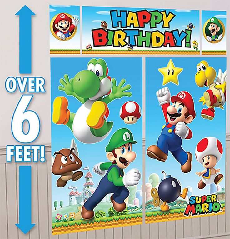 Super Mario Brothers Scene Setter Happy Birthday Banner Party Supplies Nintendo. Super Mario Scene Setter measures 75 in tall x 65 in wide when assembled. 1 Birthday banner, 44in x 16in. 2 large posters, 32 1/2in x 59in. 2 small posters, 10in x 16in. Measures more than 6 feet when assembled.