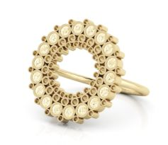 spiro ring with halo of diamonds - CAD render