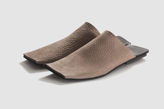 40% OFF Flat woman sandals, Open back sandals, Square shape, Natural leather sandals, Women summer shoes, Designers shoes - Sand color