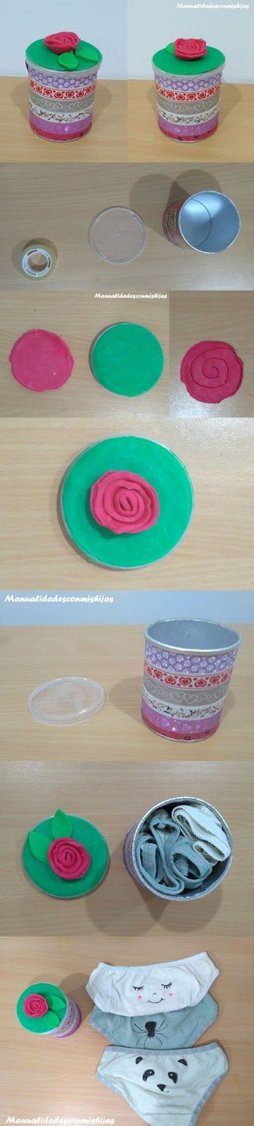 Manualidades con mis hijas: Tarrito de whasi tape y plastilina para el Día de la madre