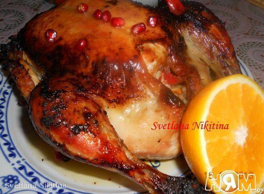 Курица запеченная с апельсином и  гранатом