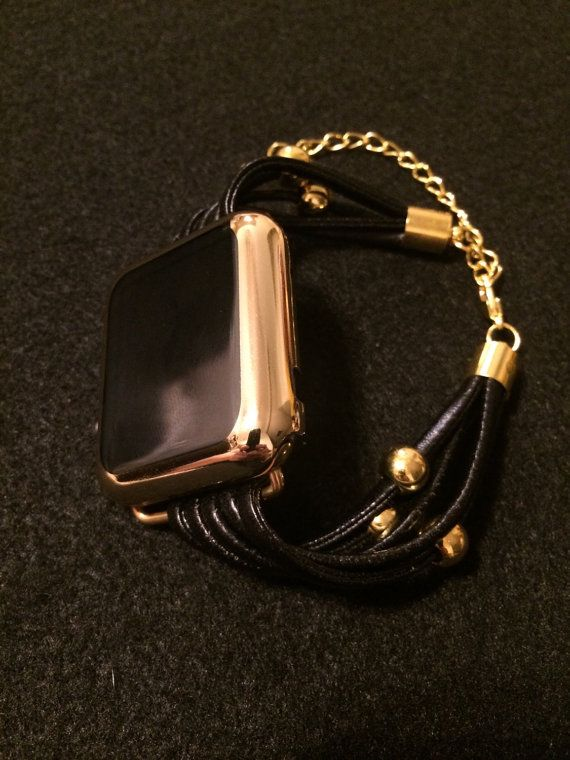 Apple Watch Bracelet Bands Black Leather Straps 38 mm by TimeKits