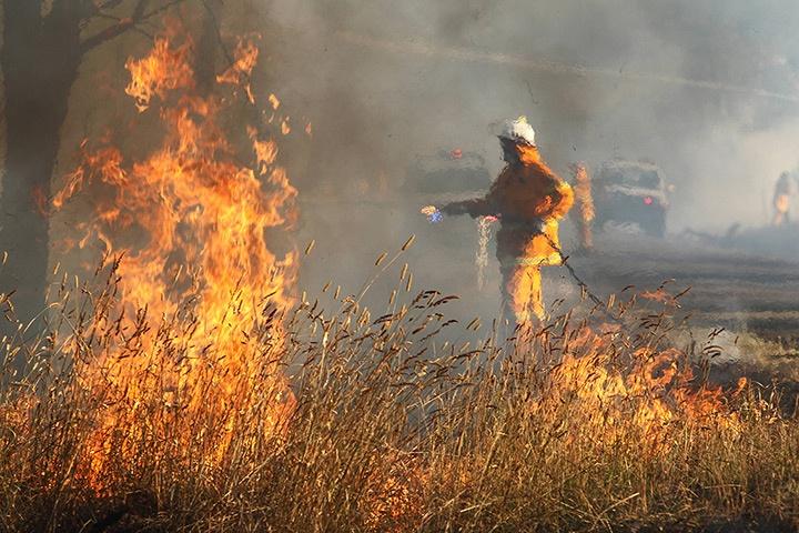 rural fire service firefighters tackle a grass fire / gunning / nsw / jan 2013