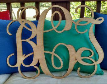 Monogram Initials / Wood Monogram / Wedding Monogram / Nursey Decor / Laser / Wall Monogram / Wreath Initials / unfinished wood letters
