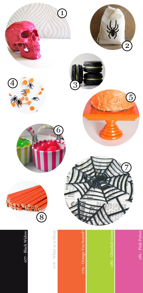 Modern and Bright Halloween Party Supply Guide | Studio DIY: Halloween Parties, Parties Supplies, Studios Diy Lov, Girls Halloween, Fall Halloween, Fright Halloween, Creative Halloween, Bright Halloween, Halloween 2014