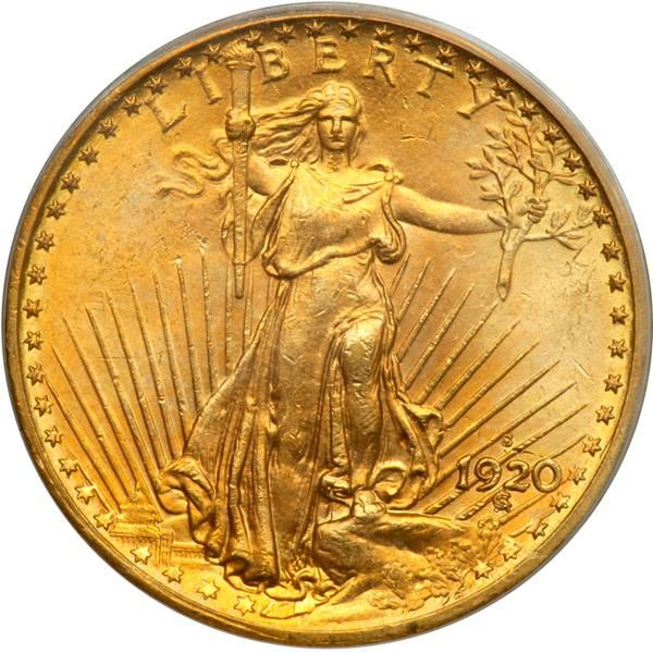 """1920-S $20 St. Gaudens. PCGS MS64 Well struck and frosty with hues of golden-orange and olive. We are pleased as can be to have been awarded this extremely rare coin for auction. Throw away the mintage figures since, of the 558,000 struck, perhaps no more than a few score survive today in all grades. The rest were melted or otherwise lost. This date is so rare that Breen estimated the number to survive at 8-12 when he compiled the information for his Encyclopedia in the 1970s (the book was published in 1988). Today, with the advantage of the PCGS and NGC Population Reports a fair number (but not a large number) have been graded by PCGS and NGC services. The census no doubt includes some duplication between them, so the total might be adjusted downward. This attractive MS64 is one of the best, as PCGS reports only 13 this high, with four graded higher! Carefully struck for the date, with full details on the devices, and just a minor scattering of ticks limiting this from full gem status. Identifiable by a small above the 20 in the date and another, among several, below the lowermost leaves of the branch in Liberty's outstretched hand. Also a couple of parallel scuffs on the upper curve of one wing on the reverse. Booming luster and a wonderful example for the specialist to purchase for a date set. One of the centerpieces among the double eagle offerings in this sale, we feel it is destined for similar distinction in an advanced collection of this beautifully rendered gold series. . The history of this 1920-S issue is sad but interesting. As is the case with other $20 gold pieces struck during the Roaring 'Twenties and early 'Thirties, mainly these were stored in bank vaults as backing for checking account deposits and Gold Certificates, the principal """"hard money"""" back then. Gold $20s and gold bars were also the principal export medium in hard-money specie payments for imports. People have forgotten that under a gold standard (which ended in 1933), paper money and che"""