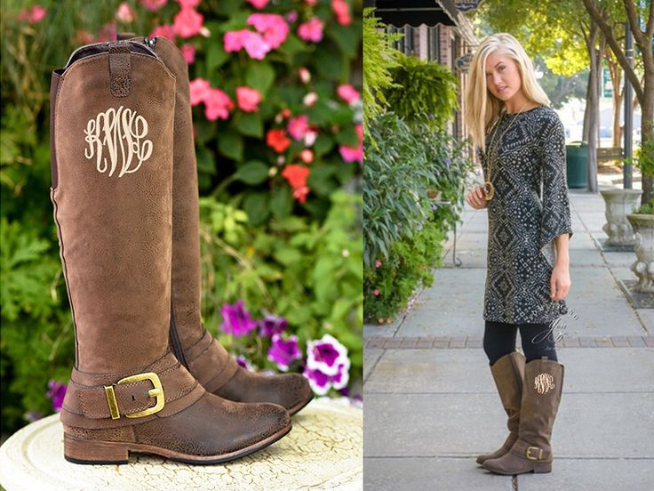 Monogrammed Boots in Master Circle Font - Personalized Womens Boots, Vegan Leather Boots, Monogram Cowboy Boots by SomethingYouGifts on Etsy https://www.etsy.com/listing/244516567/monogrammed-boots-in-master-circle-font