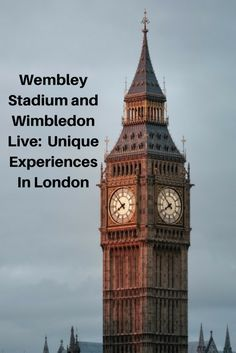 Going to an event at Wembley Stadium or watching Wimbledon live are unique experiences that you should try and enjoy on a visit to London.
