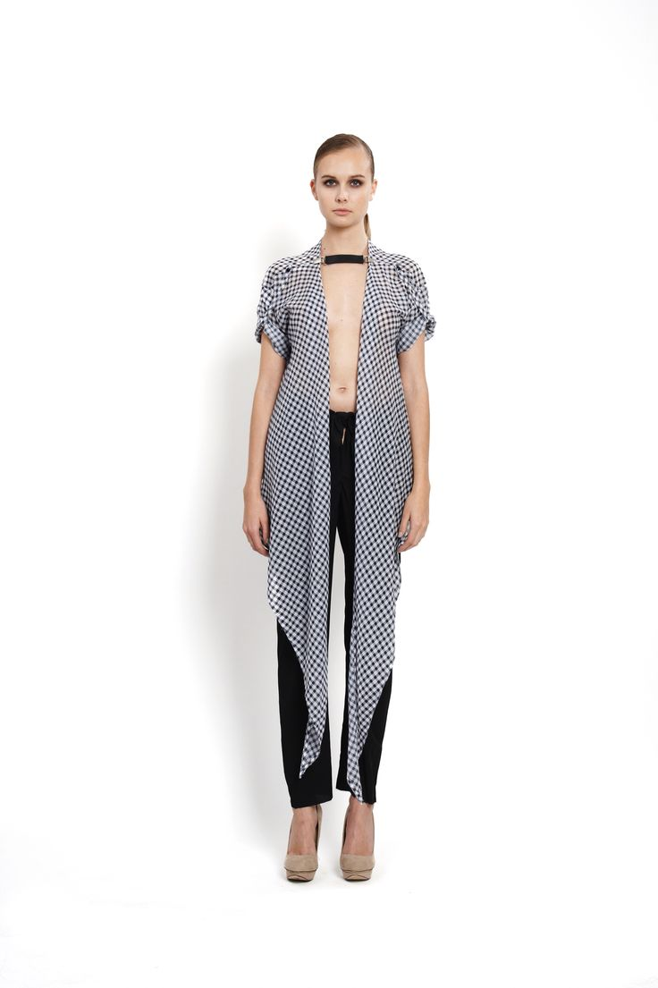 checkered wrap shirt with clipbelt, design Lucie Kutálková/ LEEDA
