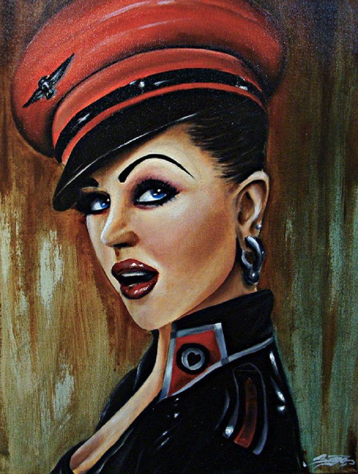 Love Pilot by Siege Sexy Rockabilly Woman Tattoo Canvas Art Print