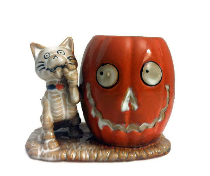 Yankee Candle Boney Cat Boney Bunch Votive Holder Pumpkin Halloween Retired 2013 #YankeeCandle