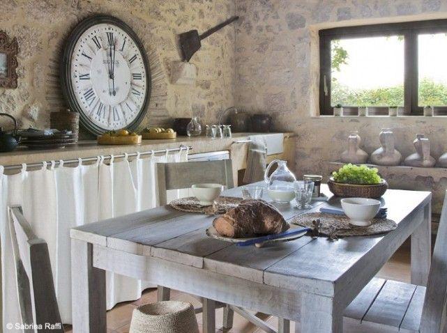 Cuisine campagne murs pierr habitat pinterest for Cuisine a la campagne