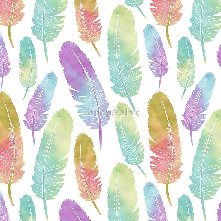 """Boho Feather Pattern Watercolor Rainbow"" Throw Pillows by JannaSalak | Redbubble"