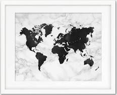 World Map Art Print - Marble Effect - World Map Decor ...