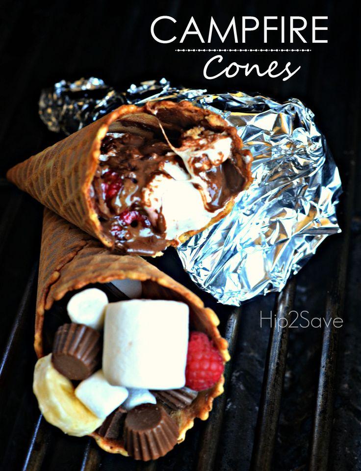 Easy & Fun Camfire Cones- Lots of treat stuffing ideas http://hip2save.com/2015/06/25/campfire-cones-fun-easy-summer-dessert/