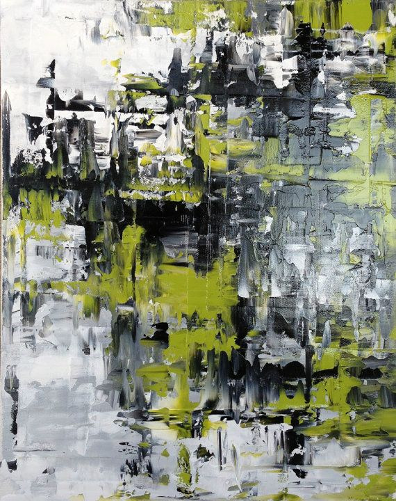 Abstract Painting, Original Modern Oil Painting, Contemporary Black, White, Grey, Chartreuse - 16x20 Stretched Canvas. Abstract Modern via Etsy