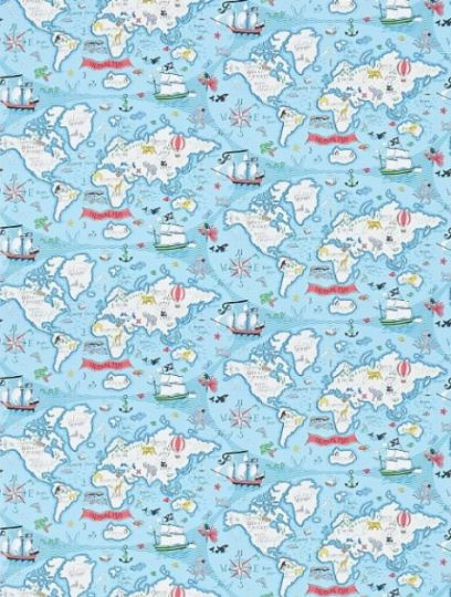 Treasure Map Sea Blue, a feature wallpaper from Sanderson, featured in the Abracazoo collection.
