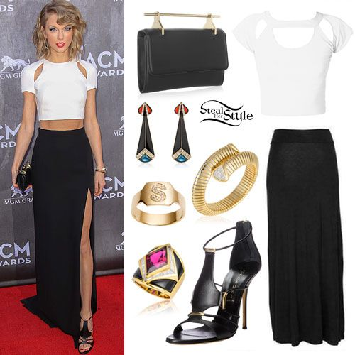 Taylor Sift arrived on the red carpet at the 49th Annual Academy of Country Music Awards on Sunday wearing a custom J. Mendel Silk Crepe Ivory Top and Noir Asymmetrical Skirt. She accessorized with a M2Malletier Fabricca Leather Clutch ($1,290, sold out), Marina B Troc Earrings, a Marina B Trisola Bangle, a Jennifer Fisher Large ID Ring with Burnish White Diamond Single Letter ($1,500.00), a Marina B Alfa Ring, and a pair of Casadei Women's Peplum Nero Dress Sandals ($770.00).