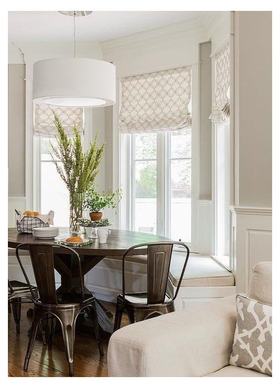 Kitchen Window Treatments Breakfast Nooks Transitional Bay Window Breakfast Nook Is Filled Minimalist Dining Room Bay Window Benches Bay Window Treatments