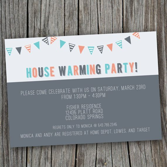 House Warming Party Invitation - Printable, Custom, COOL, DIY, BUNTINGS, Modern on Etsy, $15.00