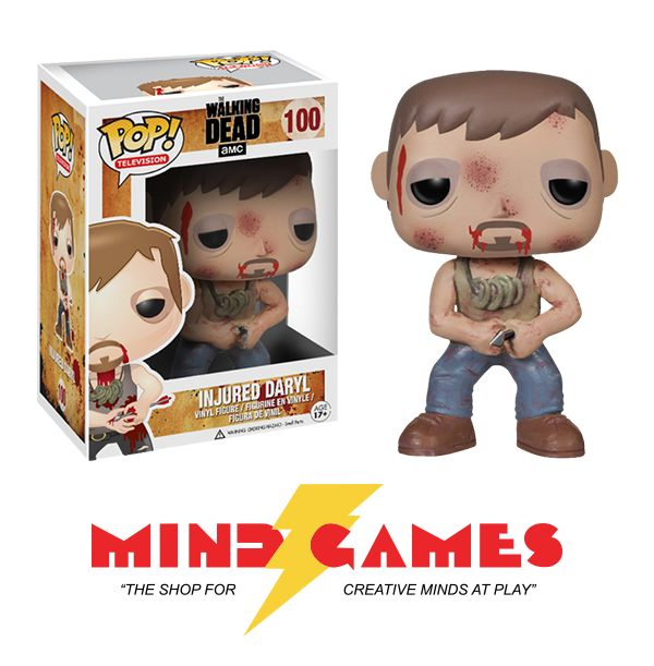 This Daryl Dixon figurine from Funko's Pop! Television line is a short 3.75 inches and is incredibly detailed right down to his arrow-pierced hand and bloodied undershirt. The large head can also turn to provide a personal touch for displaying him outside of the box.  The POP Walking Dead Injured Daryl Vinyl Figure is a brave, little collectible for everyone ages 17 and up.