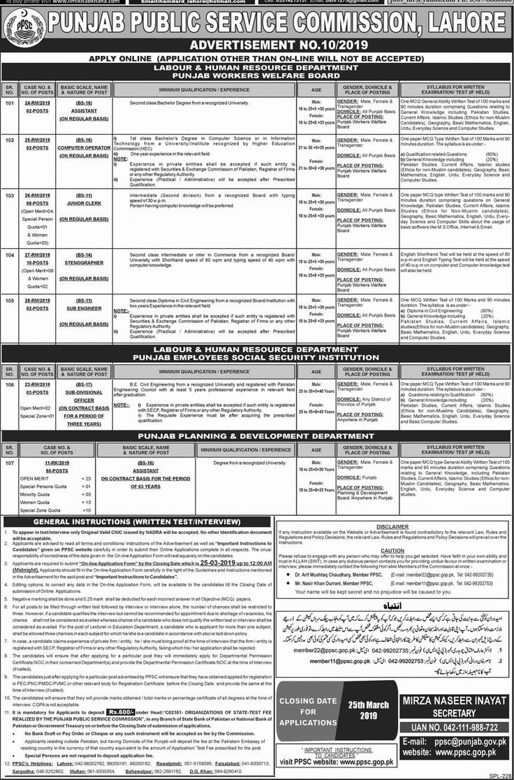 78 Jobs through PPSC in Different Departments of Punjab