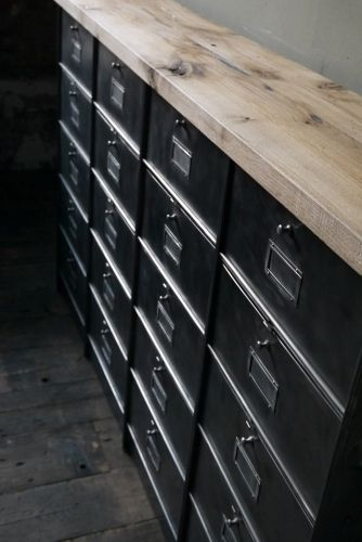 ancien meuble enfilade 20 casiers industriel a clapet roneo 1950 plateau chene massif