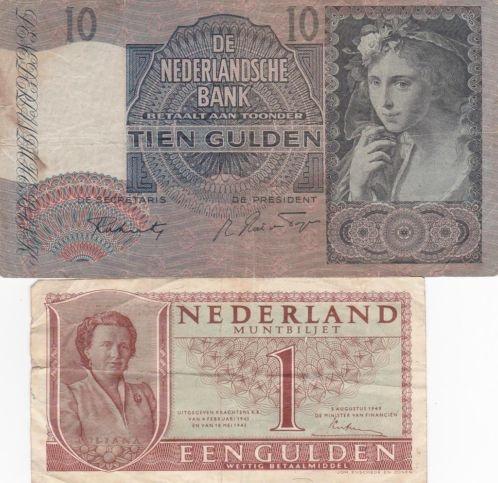 Het tientje ken ik nog, de papieren gulden niet. The older versions of the later introduced very colorful money, and the paper version of the guilder.