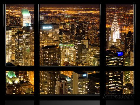 Window View, Special Series, Landscape by Night, Manhattan, New York City, United States Photographic Print by Philippe Hugonnard at AllPosters.com