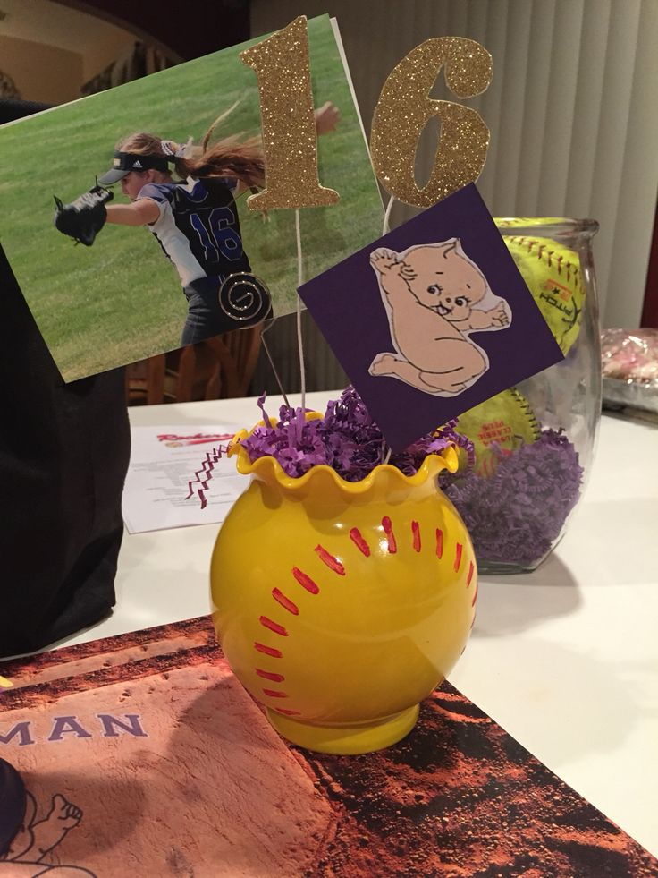 Softball centerpieces for the home pinterest
