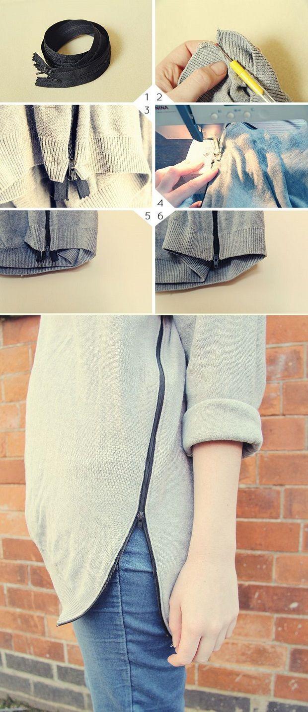 The Best Fashion DIY Projects Ever! , Zip Jumper ✭Teresa Restegui http://www.pinterest.com/teretegui/ ✭