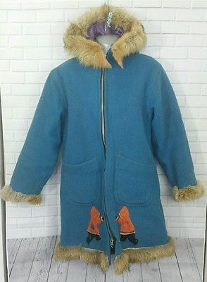 Ladies Authentic Inuit Handmade Parka 1970's Eskimo Igloo Fur Collar Aboriginal