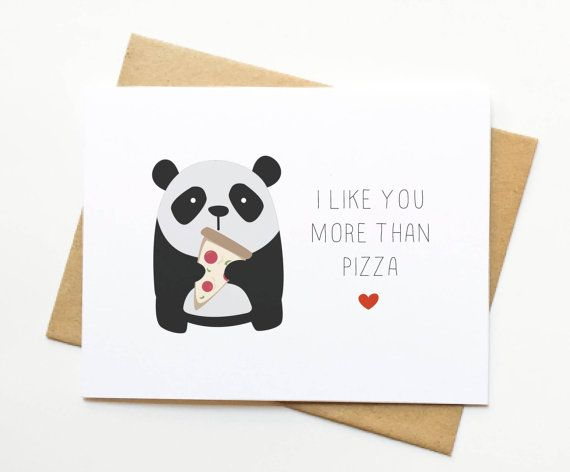 Panda Pizza Valentine's Day Cute Foodie Card by LeTrango on Etsy